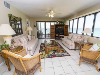 Photo for Panoramic Beach Views with Sun Room and Private Balcony! Onsite Amenities for Everyone! Beachfront!