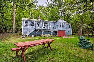 Located in Sebago Lake, this cozy vacation rental features numerous amenities.