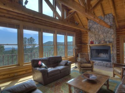 Log home near santa fe new mexico with mil homeaway for Santa fe new mexico cabin rentals