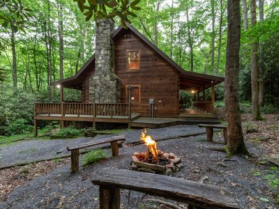 Photo for Rustic Log Cabin With Hot Tub, Internet And Privacy.  Near Harrah's Casino!