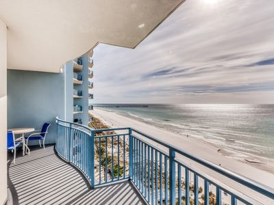 Photo for Beautiful Gulf front condo with balcony, shared heated pool, hot tub, and gym