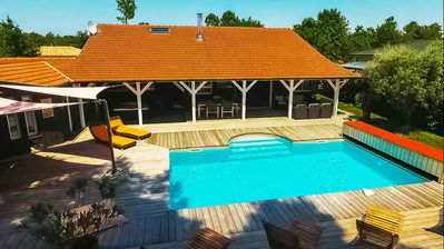 Photo for Villa du Bassin, heated pool, spa, sauna, 5mn Lege-Cap-Ferret-Andernos