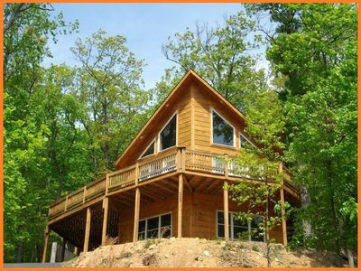 Photo for Log cabin home with mountain and ski slope views