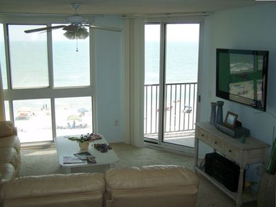Oceanfront view from living room with new 42'' LCD