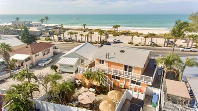 Aerial photo looking west at the four unit property and beautiful Gulf of Mexico