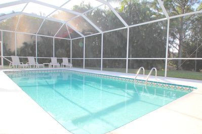 Southwest facing pool gets sun all day