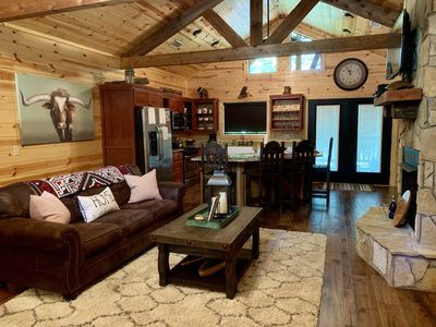 Photo for Rustic Luxury Log Cabin/ Double Master King Suites/Hot tub/Wifi/Fireplace/Privat