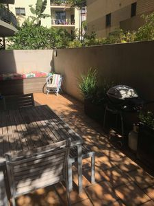Outdoor dining, Weber gas BBQ, sunbed and seating