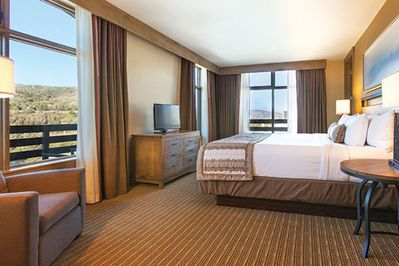 Master bedroom is comfortable and scenic