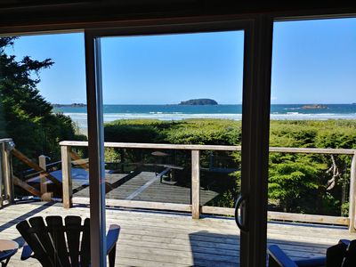 View from Living room, hot tub and beach