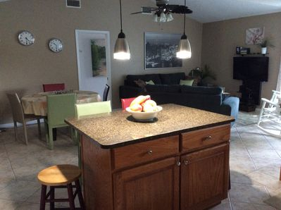 The kitchen and family room