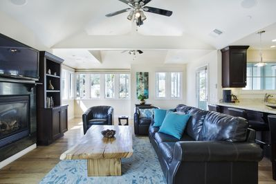 Large living space with sleeper sofa.