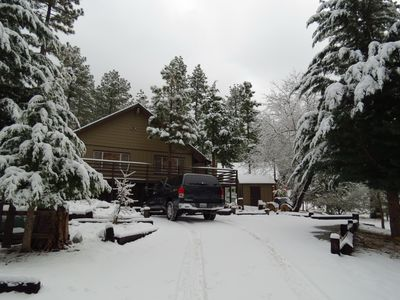 Always beautiful with snow!  Driveway is plowed in inclement weather.