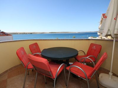 Photo for One bedroom apartment with terrace and sea view Povljana, Pag (A-3316-c)