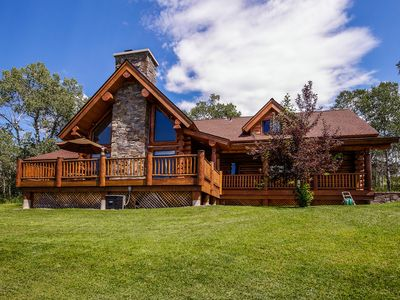 Photo for Custom-built, luxurious cabin with private hot tub and gourmet kitchen