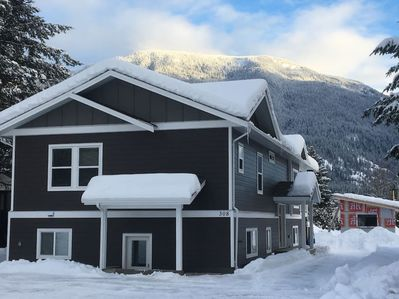 Our home. Completed in December 2017. RMR (Ski hill) on display in background
