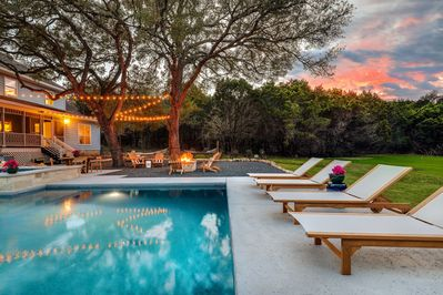 Relax poolside and enjoy the Texas Hill Country sunset...