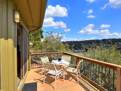 Photo for Relaxing Bungalow w/ Treetop Views, pool & hot tub, next to marina (#17)