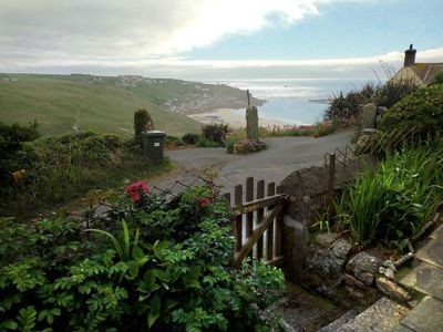 Photo for Traditional granite cottage above Sennen Beach