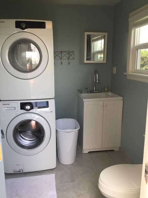 Laundry Room Half Bath With Outside Door Just Steps From The Outdoor Shower