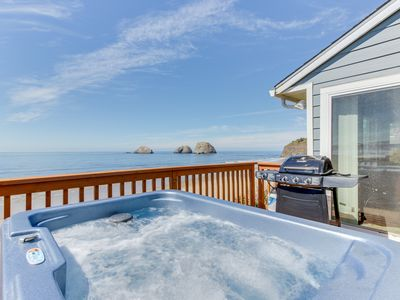 Photo for Beachfront, dog-friendly cottage w/ private hot tub and stunning views!