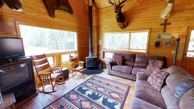 Photo for Wiggins' Cabin - Upper Valley Home with River Access, Fire Pit, Satellite TV, Washer/Dryer