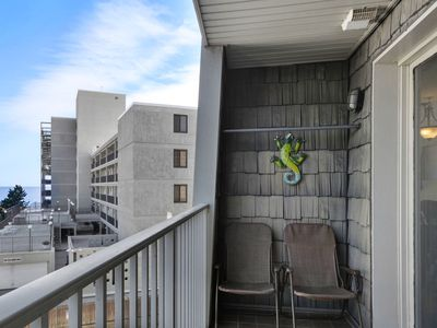 Photo for 303 The Crest - Spacious, affordable 1 bed 1 bath ocean block apt. Ocean view balcony, pool, elevator, off street parking. Sleeps 4.