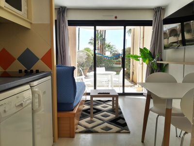 Photo for Small Studio with separate bedroom and Real Bed, Terrace, 2 Large Pools, Sea
