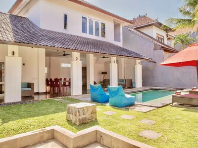 Photo for 2 BDR (4-5 persons), Private pool, Seminyak center, 350m Beach, Spacious & Quiet