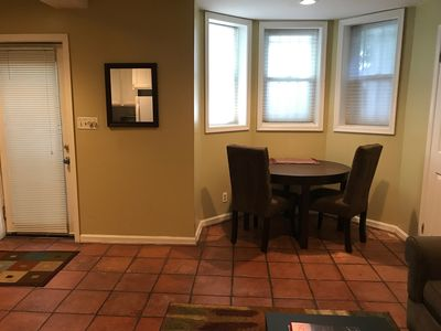 Front door and dining area