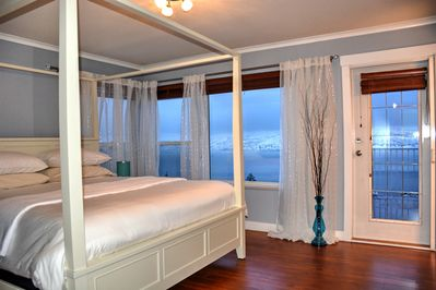 Beautiful master bedroom with an ensuite, a private balcony entrance and T.V