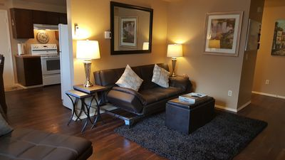 clean and comfortable with leather furnishings and a European theme