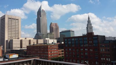 View from Roof top deck Great view of downtown and Lake Erie and Port of Cle.