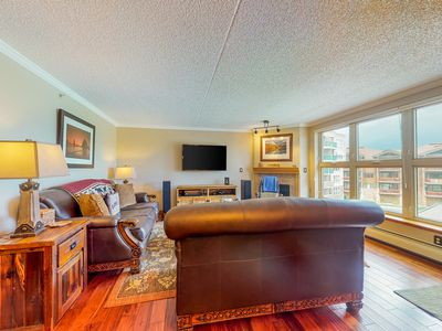 Photo for NEW LISTING! Lake-view condo, central to skiing- walk/bus/bike to anything!