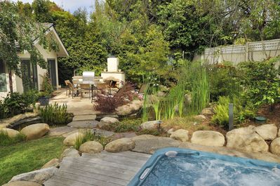 Private backyard with spa