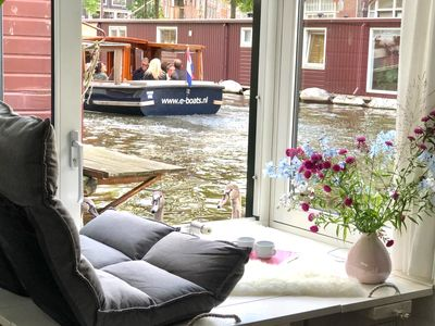 Photo for private houseboat at prime @ jordaan + 4 season indoor terrace & canal view