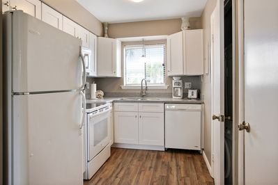 kitchen with soft close doors and drawers; coffee maker and toaster