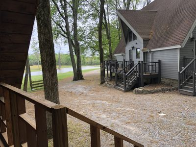 View from your front porch looking to pond and side of main house
