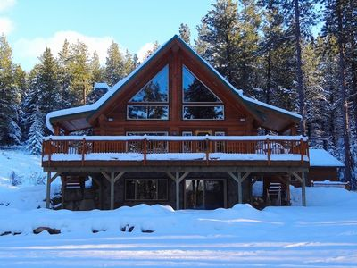 Photo for Picturesque Log Cabin on 5 Private Acres!  Hot Tub * Large Yard * WiFi
