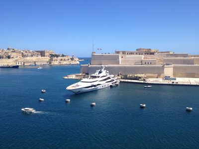 Unbeatable view of the Grand Harbour, Valletta & Fort St. Angelo from the terrac