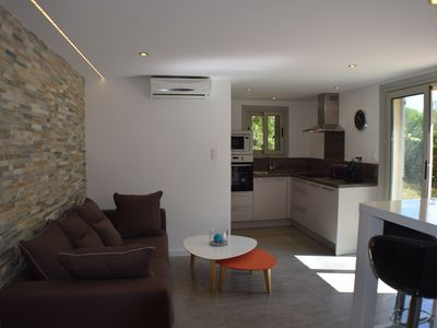Photo for Superb ground garden villa, close to beaches, santa giulia, WiFi, air conditioning