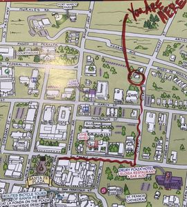 Visitors map shows our proximity to the Historic Plaza and St. Francis Cathedral