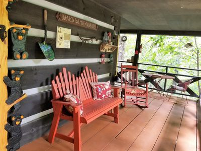 Photo for Country LoveSong Log Cabin-100% Private-3+Acres--HotTub-ONE Level-Pets-Sleeps 4-