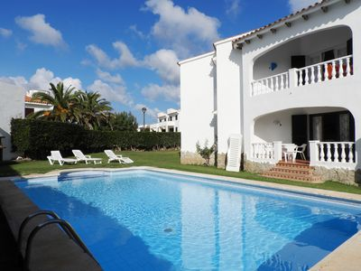 Photo for Apartment with pool, 5 minute walk beach, sleeps 6, free WIFI