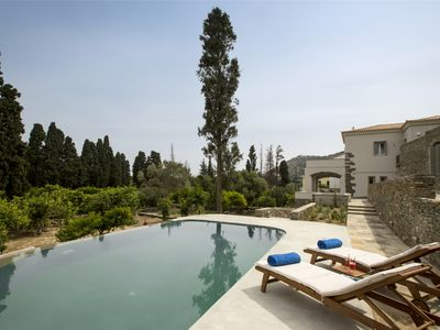 Photo for Luxury villa, private pool, near the sea, island of Andros, Cyclades