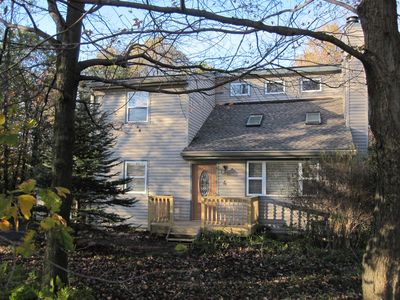 Front Of The House W/Deck, Side Entrance W/Deck on Left. Large Side Deck On Rt.