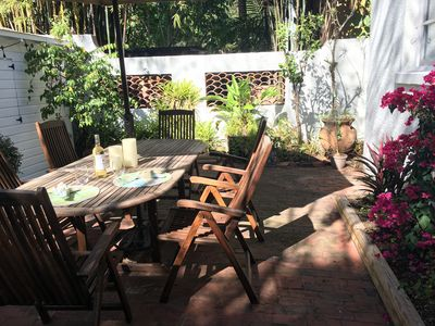 Private back patio great for BBQ / sipping wine  and quiet nights