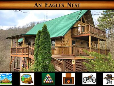 Photo for Eagles Nest - Mountain Views / Pool Table / Hot Tub / Rustic Decor