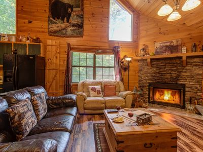Photo for Secluded cabin w/ beautiful forest views, private hot tub, & firepit - dogs OK!