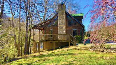Photo for PRIVATE 2 ACRES RIVERFRONT LUXURY FARM CABIN IN THE HEART OF THE SMOKIES